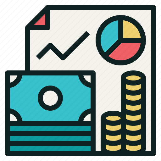 banknote, budget, chart, coin, line, money, pie icon