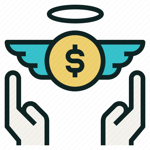 angel, charity, coin, hand, moeny, wing icon