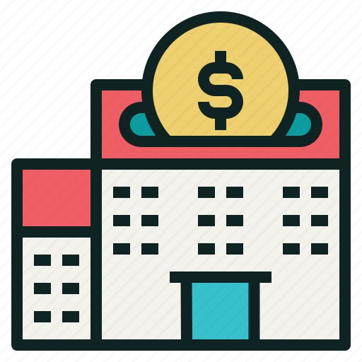 building, coin, investing, money, property icon