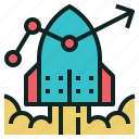 boost, chart, investment, launch, line, rocket icon