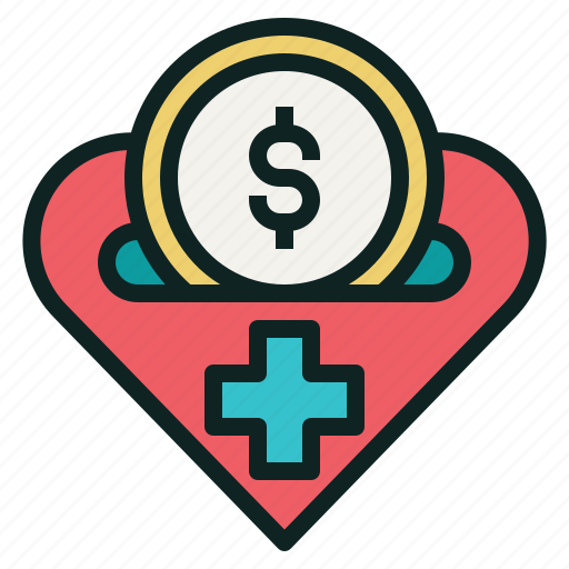cross, heart, medical, money, treatment icon