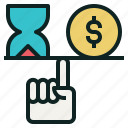 balance, hand, hourglass, money, time icon