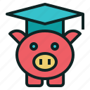 fee, graduation, hat, pig, tuition icon