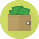 business, businessman, buy, cash, dollar, ecommerce, finance, financial, green, leather, man, money, notes, pocket, price, purchase, purse, rich, savings, sell, shop, shopping, spend, stitching, wallet, wealth icon