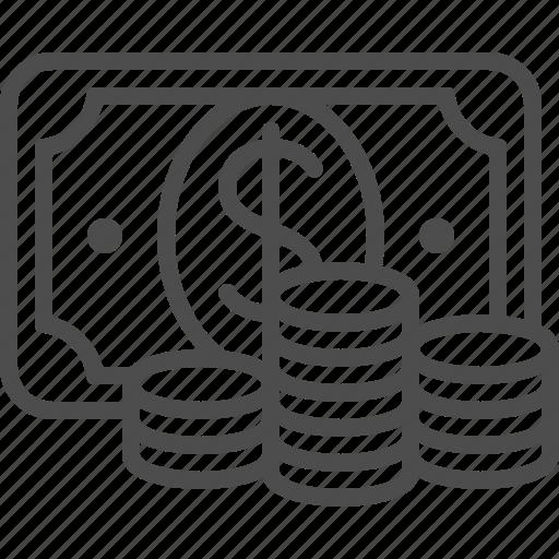 banknote, bill, cash, coins, dollar, money icon