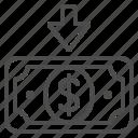 arrow, bill, cash, dollar, finance, money, transaction icon