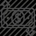 arrow, bill, currency, dollar, exchange rate, money, stock market