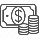 banknote, bill, cash, coins, dollar, money icon