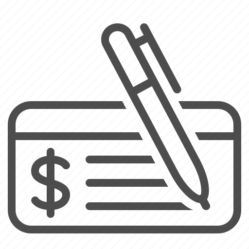 check, cheque, finance, money, payment, pen, signing icon