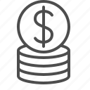 cent, coins, dollar, finance, money, stack icon