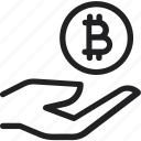 bitcoin, coin, hand and coin, hand holding bitcoin, hand with bitcoin, pay icon