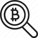 analysis, bitcoin, bitcoins, search icon icon