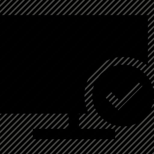 checkmark, desktop, display, monitor, screen icon