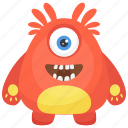 furry fuzzy monster, furry monster, horrible creature, monster halloween, one eyed monster icon