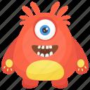 furry fuzzy monster, furry monster, horrible creature, monster halloween, one eyed monster