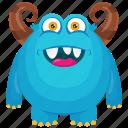 blue monster, halloween monster, haunted monster, horned monster, horrifying creature icon