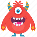 furry fuzzy monster, halloween cartoon, monster, monster character, one eyed monster icon