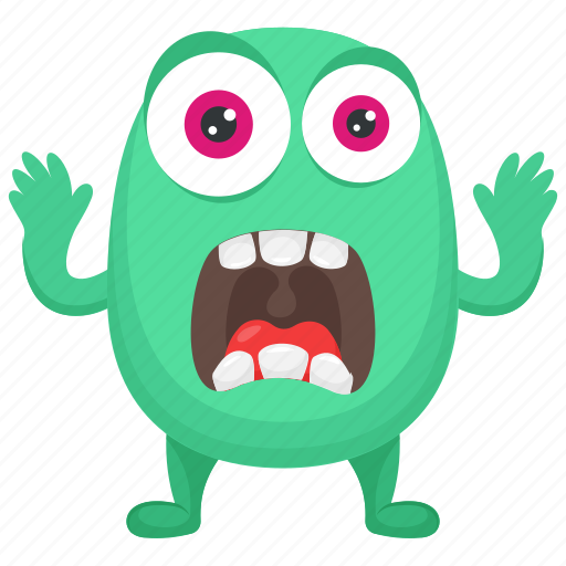 Cartoon Monster Frightening Monster Fuzzy Green Monster Green Monster Horrifying Creature Icon Download On Iconfinder