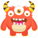 bacteria monster, dirty creature, germ monster, monster cartoon, three eyed monster icon
