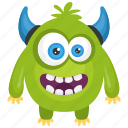 angry devil monster, angry monster, devil monster, green monster, monster cartoon icon