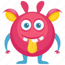 beast, pink monster, demon, furry round monster, monster character icon