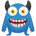blue devil monster, devil monster, horror creature, monster character icon