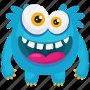 blue monster, demon, funny monster, furry funny monster, smiling monster icon