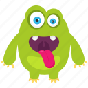 alien, cartoon emoji character, frightening monster, funny creature, green monster icon