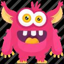 aggressive monster, alien, demon, monster cartoon, pink monster icon