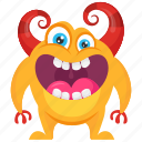 aggressive monster, alien, beast, bullhorns monster, demon icon
