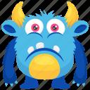 alien, demon, monster cartoon, sad monster, unhappy monster icon