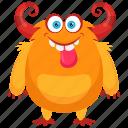 aggressive monster, alien, demon, beast, bullhorns monster icon