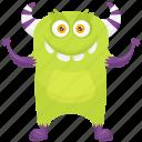 alien monster, cartoon monster, happy monster, potato zombie monster, zombie monster icon