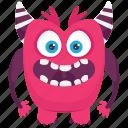 aggressive monster, angry monster, devil monster, monster cartoon icon