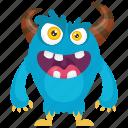 aggressive monster, annoying monster, demon, monster cartoon, ugly face monster icon