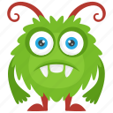 alien monster, beast, horrifying creature, round monster, zombie monster icon
