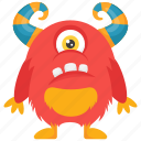 cartoon monster, cyclop monster, demon, horned monster, one-eyed monster icon
