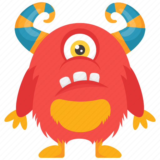 Cyclop Monster One Eyed Monster Cartoon Monster Demon Horned Monster Icon