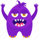 beast, lucky mascot, monster cartoon, stretched arms monster, zombie monster icon
