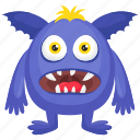 blue monster, cartoon character, halloween costume, horrible monster, monster costume icon