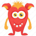 demon creature, halloween character, monster cartoon, monster costume, ugly creepy monster icon