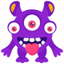 alien monster, cartoon character, monster creature, three-eyed monster, zombie monster icon
