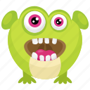 big eyes monster, green monster, halloween character, happy zazzle monster, zazzle monster icon