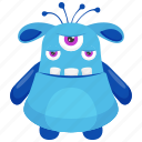beast monster, eye ghoul monster, halloween ghost character, monster cartoon, three eyed monster icon