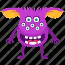 demon, funny monster, halloween character, monster zombie, multiple eyed beast icon