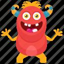 cute monster, insect monster, monster cartoon, monster character, worm devil monster icon