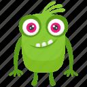 frightening monster, green mascot monster, green monster, halloween monster, mascot icon