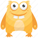 bacteria monster, horrible creature, monster, orange bacteria monster, ugly monster icon
