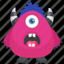 frightening monster, mascot, one eye monster, pink mascot monster, pink monster icon