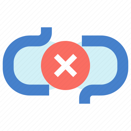 broken, chain, disconnect, link icon